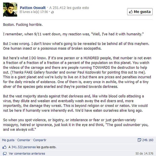 Patton Oswalt Facebook viral
