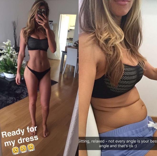 Modelo deja en evidencia el truco detrás de los vientres planos en Instagram