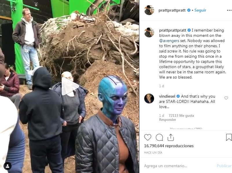 avengers endgame detras de escena video chris pratt