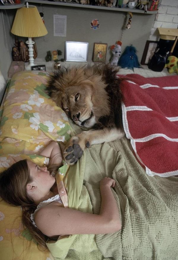 Melanie griffith durmiendo con un leon