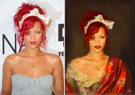 Rihanna en Woman in a Red Embroidered Shawl