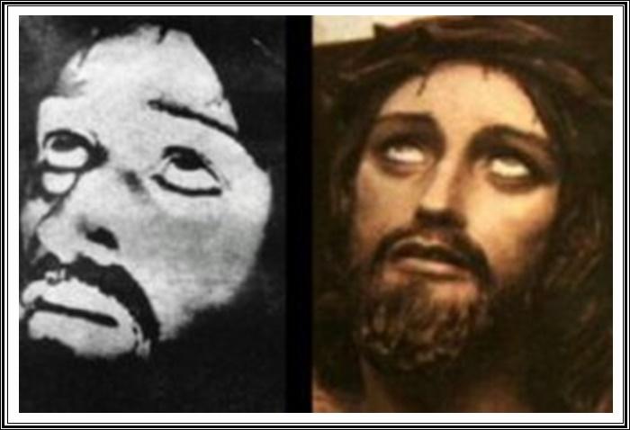 La imagen de Jesucristo en la cruz, supuestamente captada por el cronovisor del padre Ernetti, comparada con la estatua de Cristo Crucificado de la Iglesia del Amor Misericordioso de Perugia.