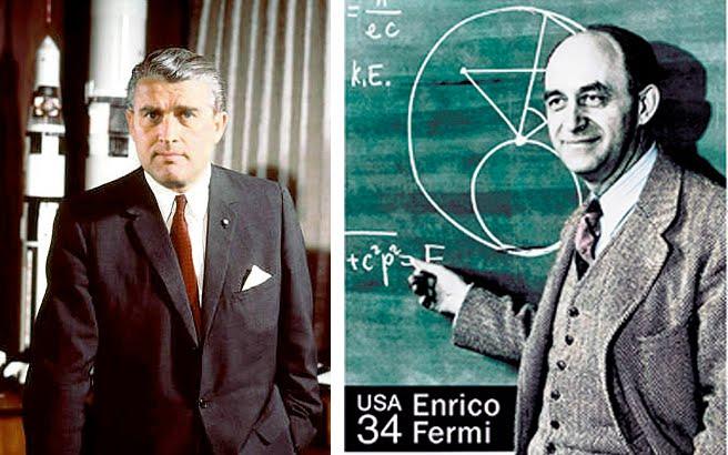 Los científicos Wernhem Von Braun y Enrico Fermi, que habrían integrado el grupo de científicos que construyó el cronovisor.