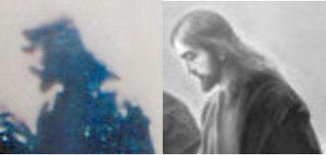 Supuesta imagen de Jesucristo (a la izquierda) captada por el cronovisor.