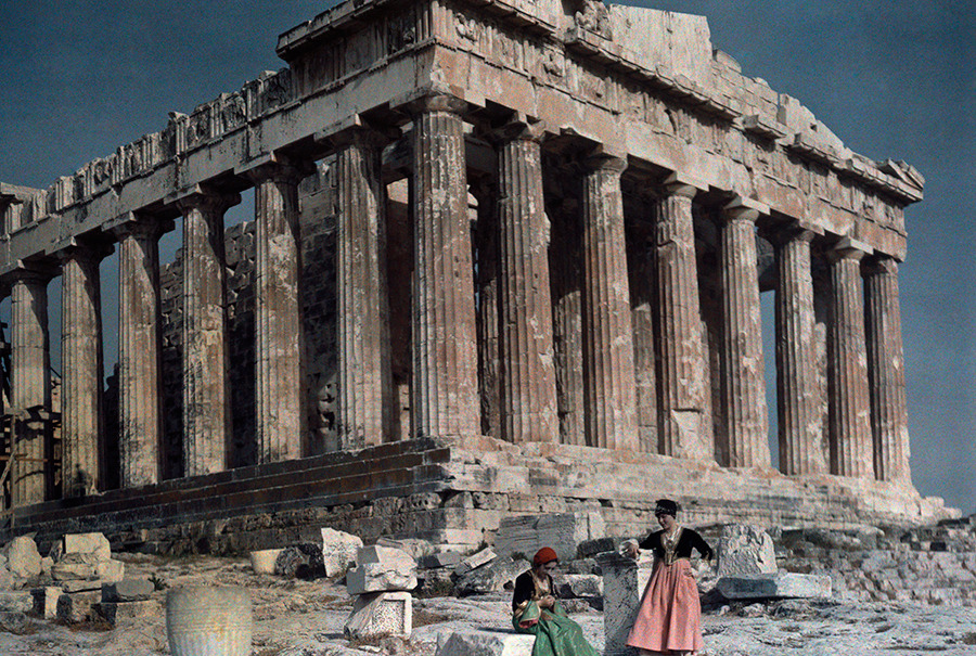 Women rest at the Parthenon