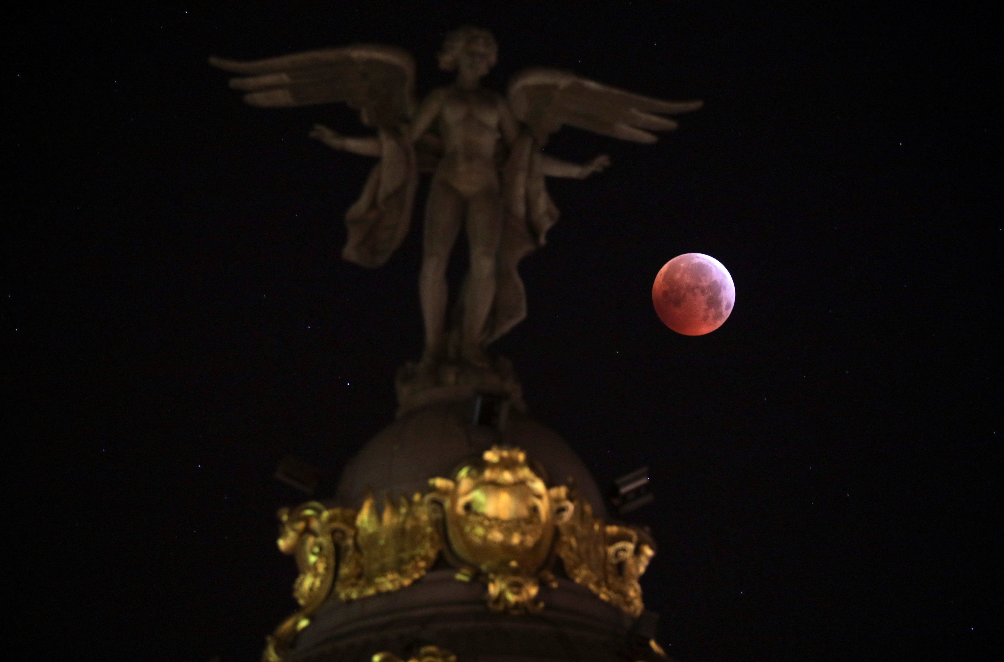"The ""Super Blood Wolf Moon"" is seen in Madrid"