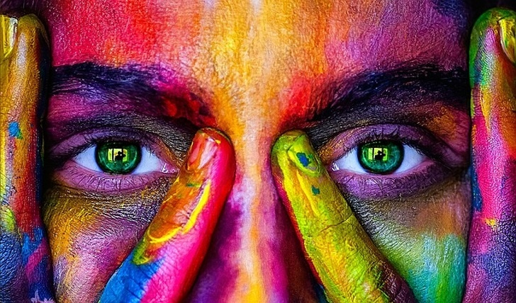 Color Model Girl Woman Eyes View Rainbow Person