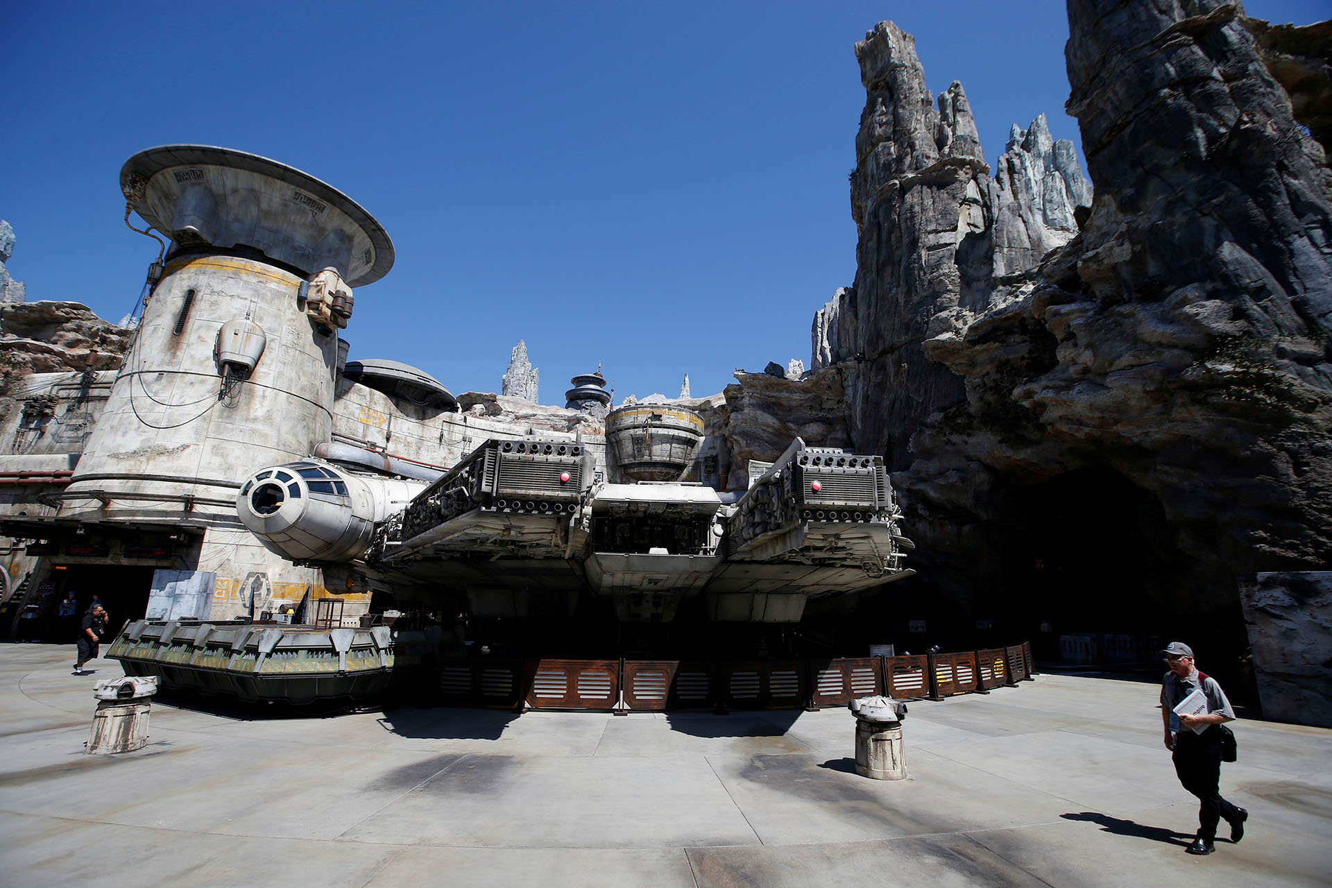"The Millennium Falcon is pictured at ""Star Wars: Galaxy's Edge"" during a media preview event at Disneyland Park in Anaheim"