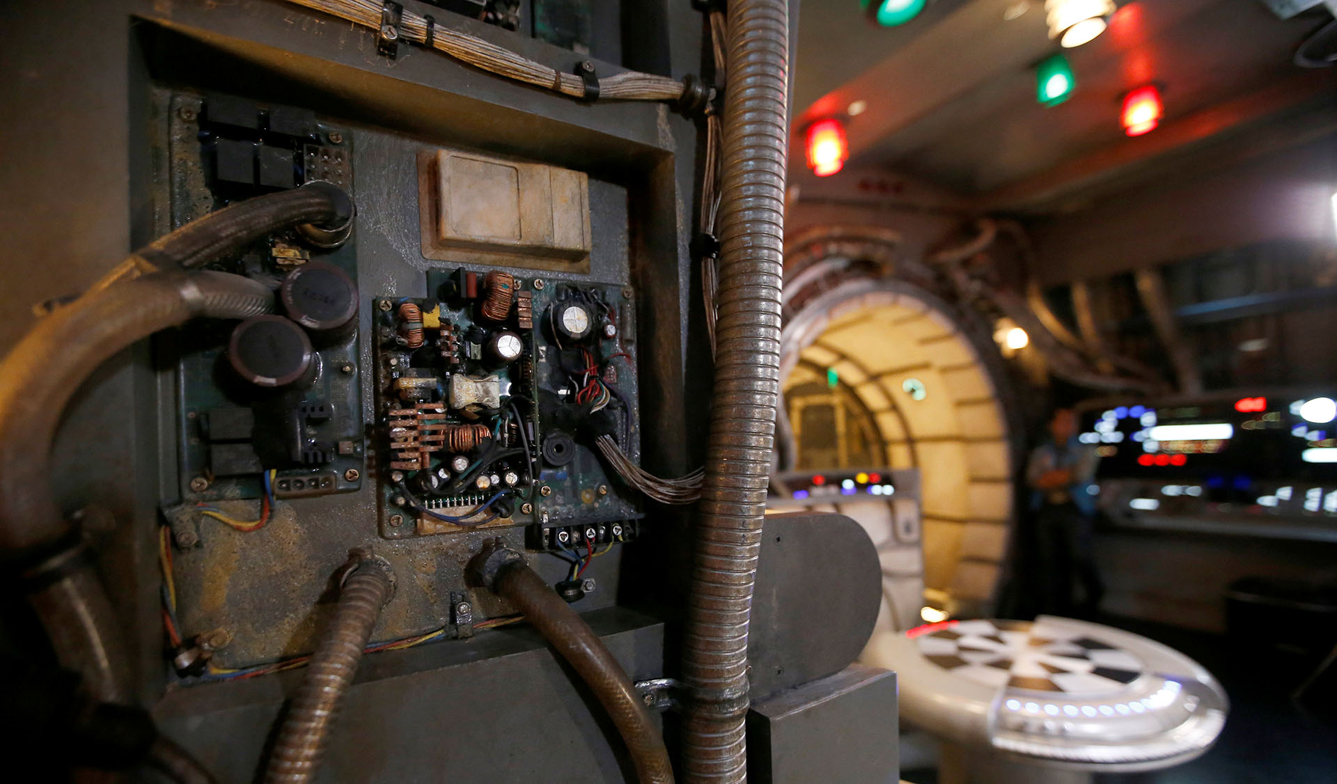"A panel of the Millennium Falcon deck is pictured at ""Star Wars: Galaxy's Edge"" during a media preview event at Disneyland Park in Anaheim"