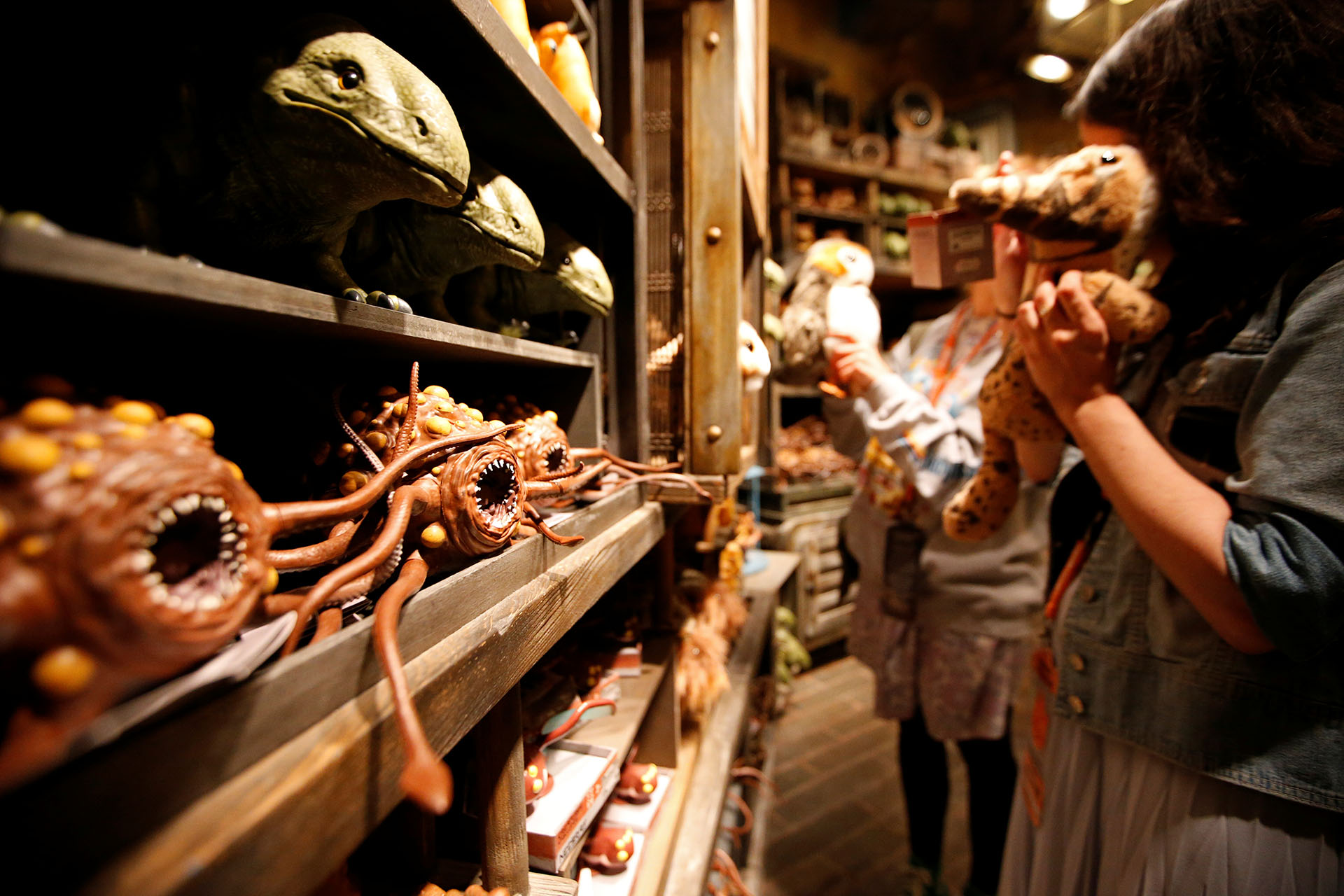 "Rathtar toys are seen on a shelf as guests explore ""Star Wars: Galaxy's Edge"" at Disneyland Park in Anaheim"