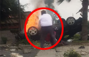 Impactante video: Hombre rescata a conductor herido desde un auto en llamas