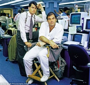 Oliver Stone y Charlie Sheen Wall Street