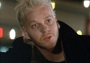 "Keifer Sutherland in the movie ""The Lost Boys""."