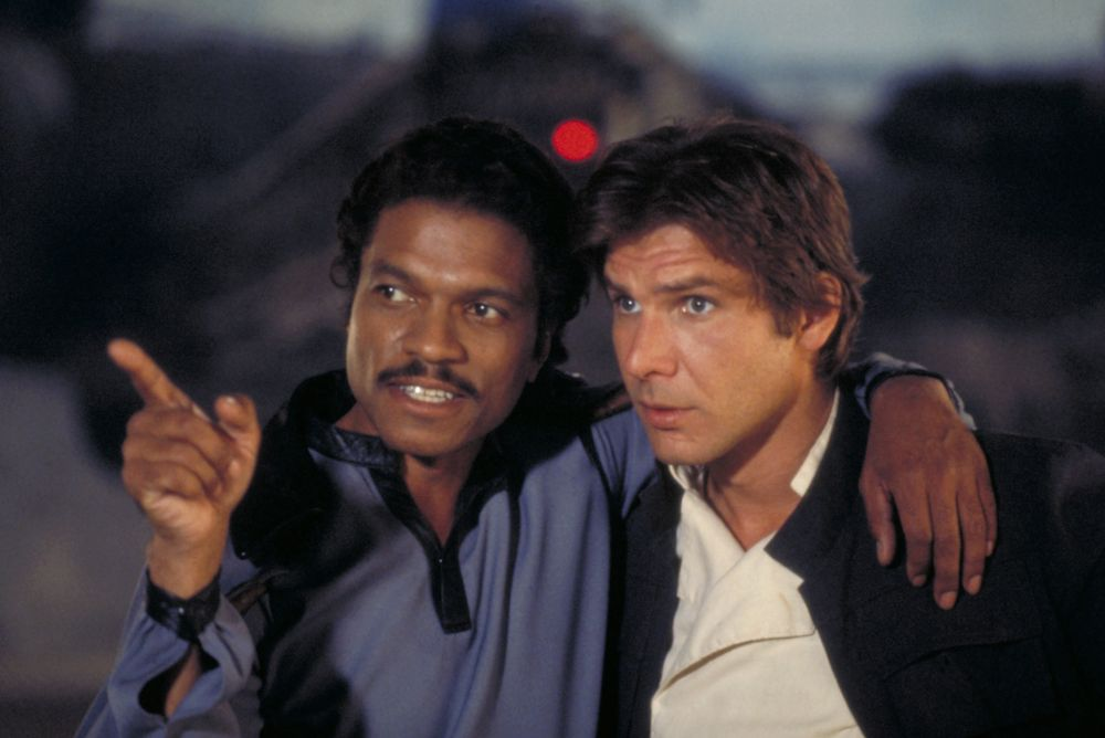 Billy Dee Williams (Lando Calrissian) y Harrison Ford (Han Solo).