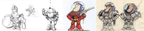 La evolución del personaje del astronauta Buzz Lightyear.