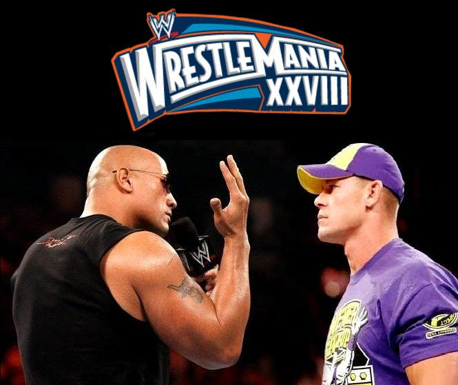 Cena en su enfrentamiento contra The Rock en Wrestlemania XXVIII.