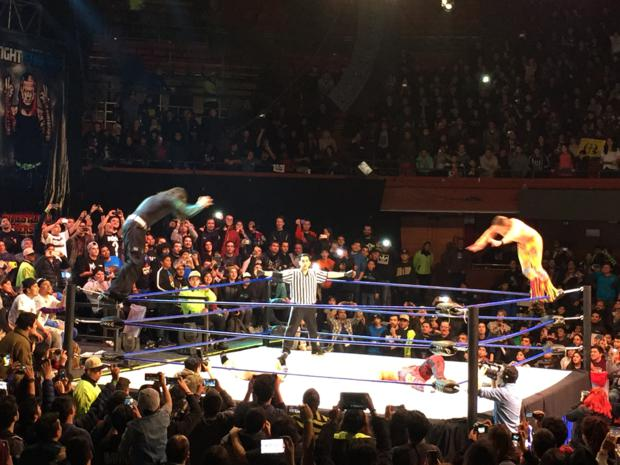 Los Hardys y los Young Bucks en plena acción final.