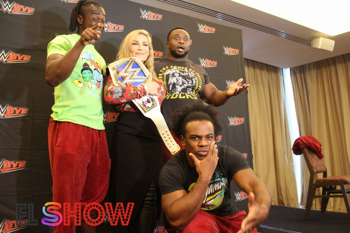 The New Day y Charlotte en la Conferencia de Prensa.