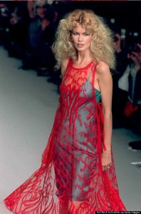 Top model Claudia Schiffer wears a transparent cri