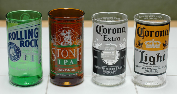Beer Bottles Turned Into Drinking Glasses