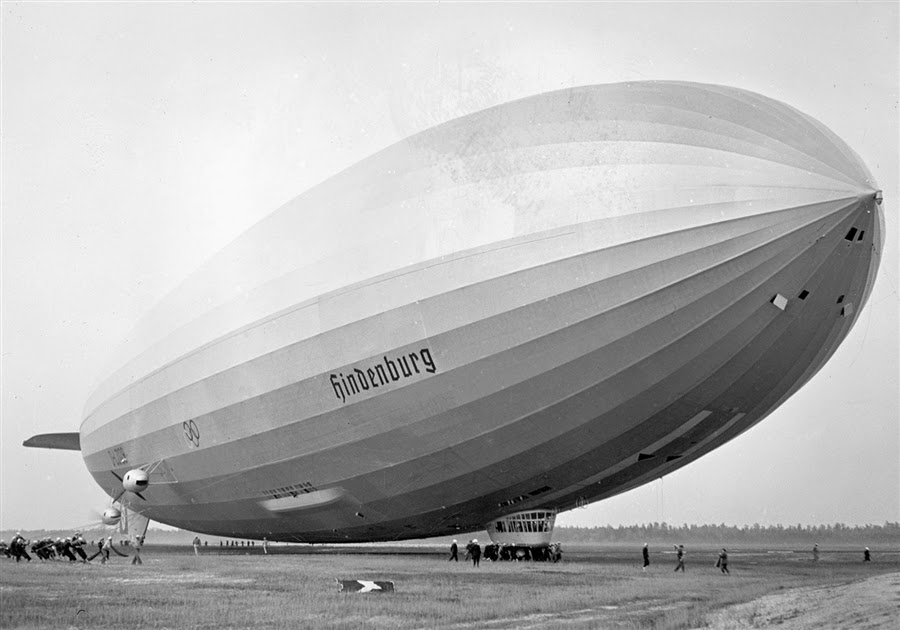 Hindenburg dirigible attempting to land at Lakehurst, N.J. May 9, 1936, a year before the disaster