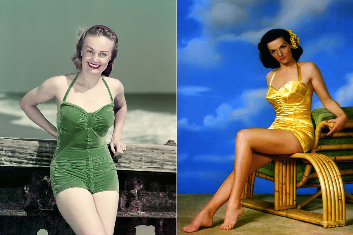 1940s PORTRAIT SMILING WOMAN WEARING GREEN VELVET BATHING SUIT POSING LEANING ON DIVING BOARD