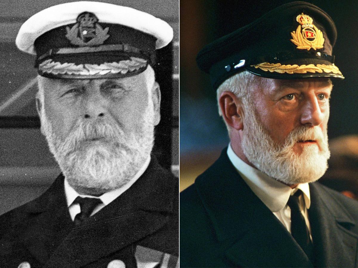 """El capitán del Titanic Edward J. Smith y su versión cinematográfica en la película """"Titanic"""" (1997)."""