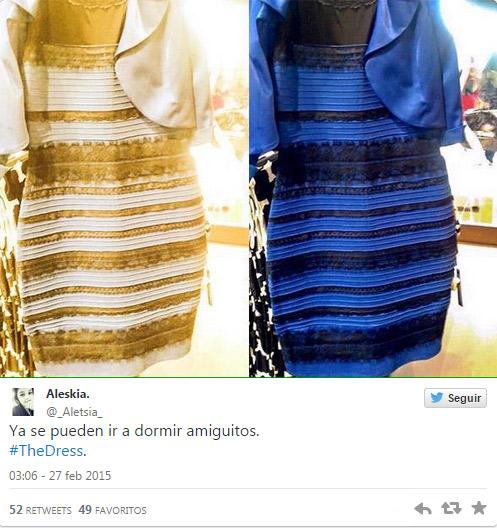 Vestido azul con negro o blanco