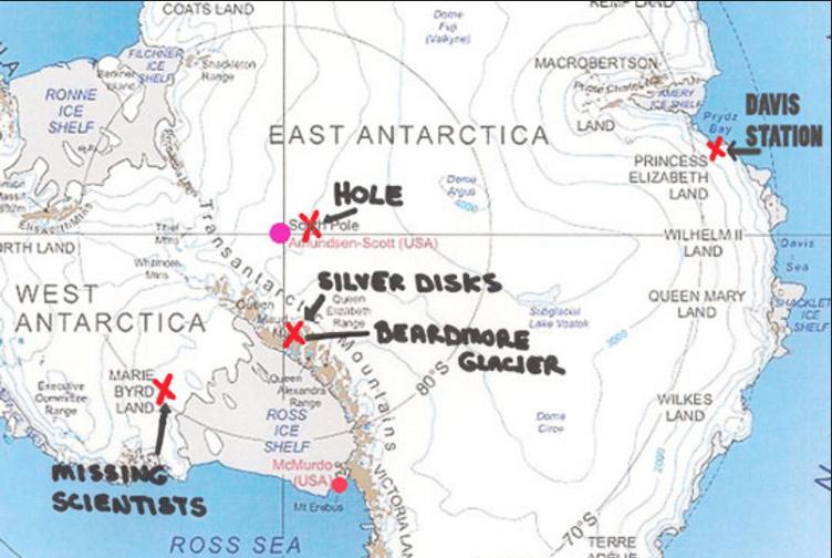 Foto: Mapa de la Antártida con los puntos señalados por Brian. /codigooculto.com