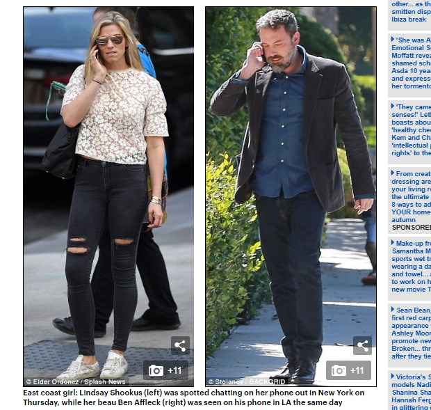 Ben Affleck se rehabilita y Lindsay Shookus, la novia, se quedó en Nueva York / Captura www.dailymail.co.uk