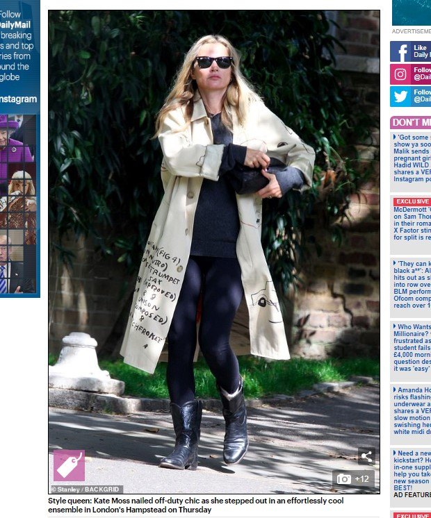 Kate Moss, captada en Londres / Captura www.dailymail.co.uk
