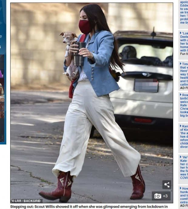 "Scout Willis, al mejor estilo ""cowboy"" / Captura www.dailymail.co.uk"