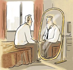 Resultado de imagen para hombre viejo frente al espejo