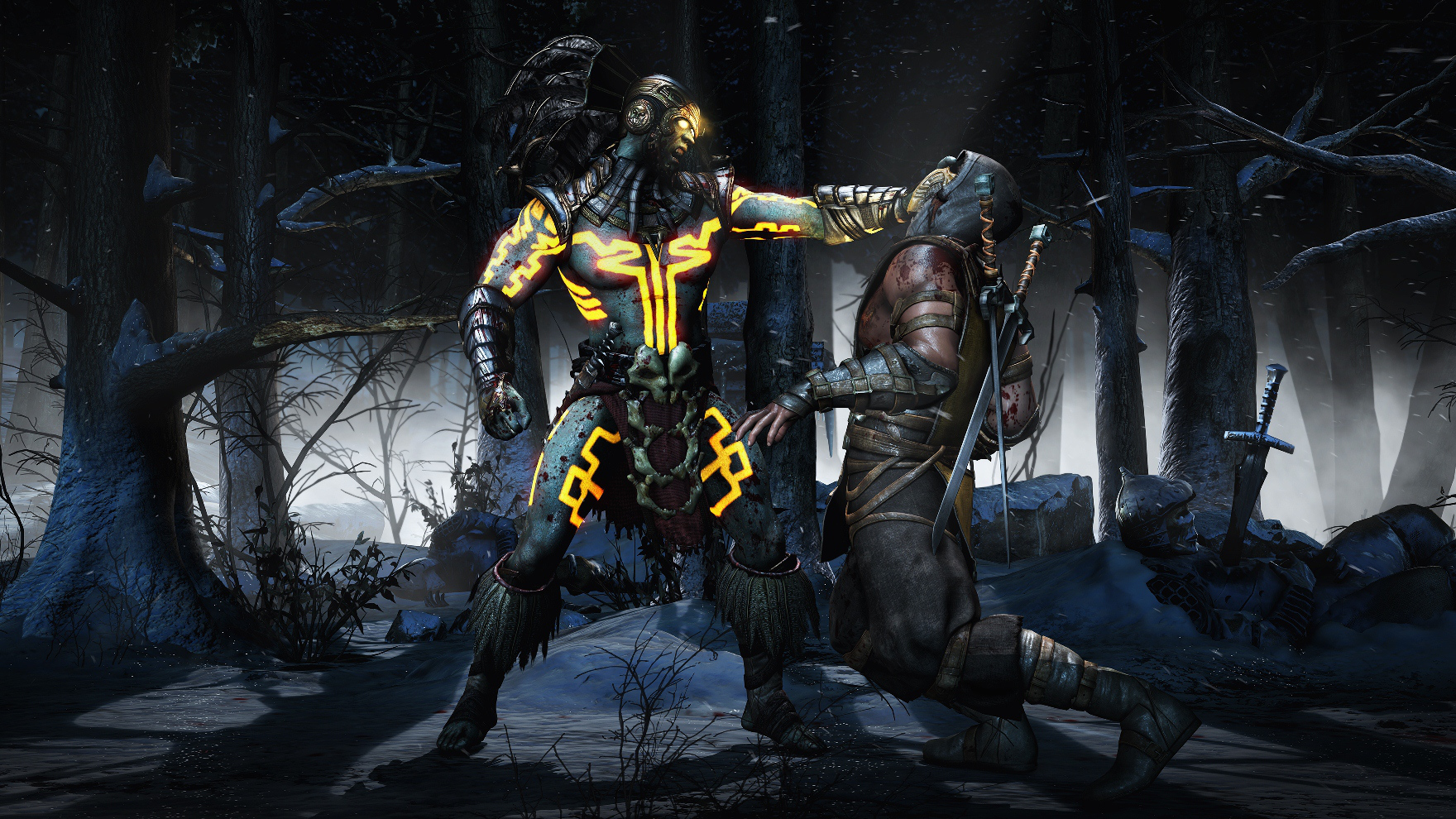 MortalKombatX_Kotal_Scorpion_SnowForest_Choke1
